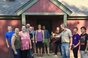 Sugar House Ribbon Cutting, Summer 2016. Richard Anderson with summer participants
