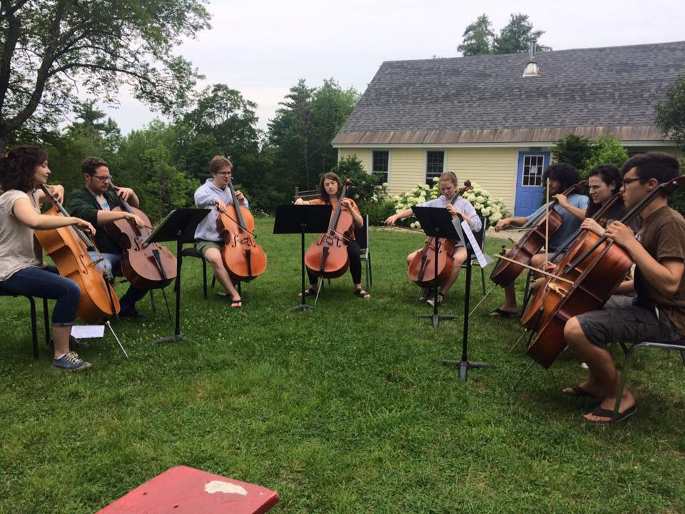 The Barn Had Some Visitors That Morning, So The Cellos Rehearsed Outside.