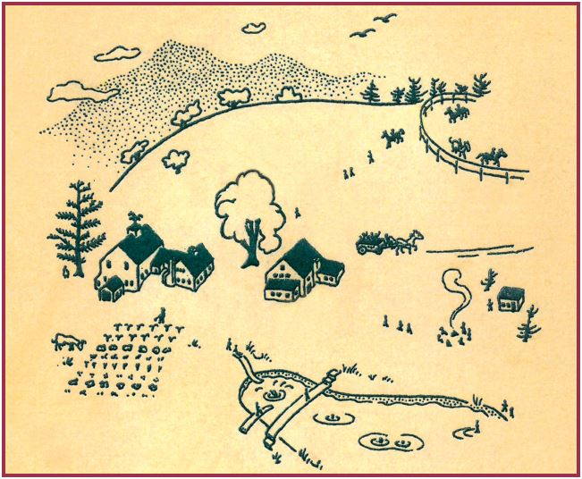 Apple Hill in the 50s drawing