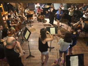 Apple Hill concert barn with summer students