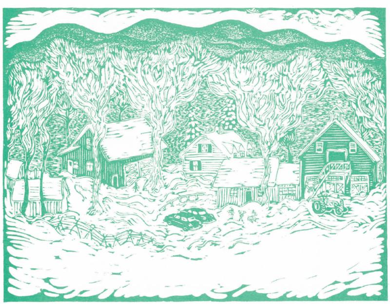 Woodblock illustration of Apple Hill campus by David Frampton
